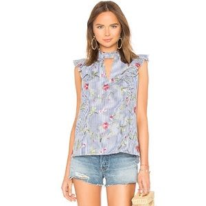 BCBGeneration Embroidered Floral Ruffle Stripe Top